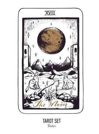 Vector hand drawn Tarot card deck. Major arcana The Moon. Engraved vintage style. Occult, spiritual and alchemy symbolism