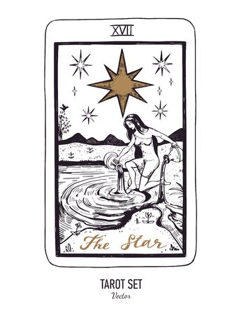 Vector hand drawn Tarot card deck. Major arcana The Star. Engraved vintage style. Occult, spiritual and alchemy symbolism Illustration