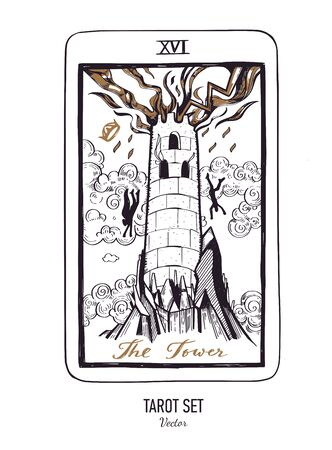 Vector hand drawn Tarot card deck. Major arcana the Tower. Engraved vintage style. Occult, spiritual and alchemy Ilustración de vector