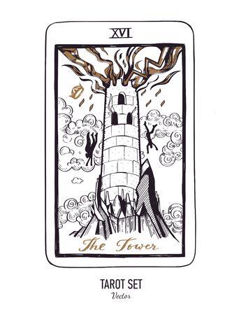 Jeu de cartes de tarot dessinés à la main de vecteur. Arcanes majeurs la Tour. Style vintage gravé. Occulte, spirituel et alchimie Vecteurs