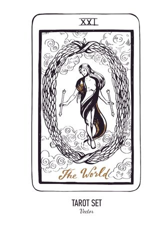Vector hand drawn Tarot card deck. Major arcana The World. Engraved vintage style. Occult, spiritual and alchemy symbolism