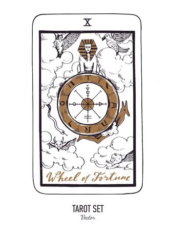 Vector hand drawn Tarot card deck. Major arcana Wheel of fortune. Engraved vintage style. Occult, spiritual and alchemy symbolism