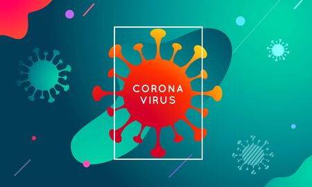 Vector Coronavirus, covid-19 modern colorful abstract background, fluid design, gradient waves. Pandemic virus, bacteria concept. Healthcare and medecine poster Illustration