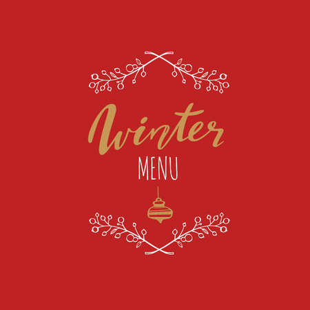 Winter menu handwritten Calligraphy, emlem, logo with rustic decoration. Merry christmas and New Year vintage