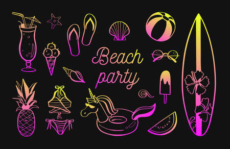 Set of Summer vector design doodle elements. Beach collection, unicorn, tropical fruits, swimsuit, surfing. Hand drawn isolated sketches on white background