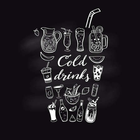 Vector hand drawn set of Cold drinks, summer cocktails and beverages. Various doodles for beach party, bar restaurant menu. Chalkboard lettering