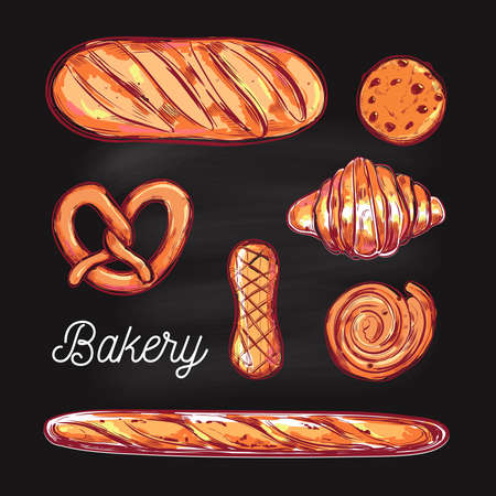 Bakery and Bread vector colorful illustrations. Different types of pastries and cakes . Bakery menu Illustration
