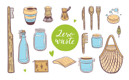 Zero waste lifestyle vector hand drawn set. Collection of eco and natural elements. Go green concept. Isolated
