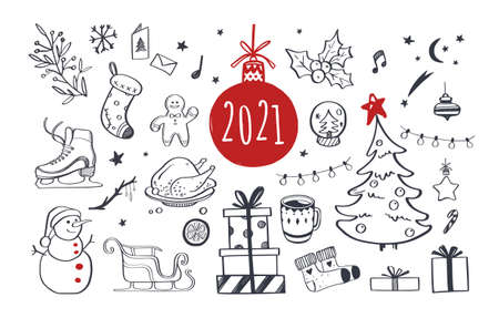 Set of Christmas design doodle elements. Vector hand drawn . Isolated