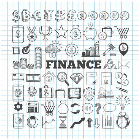 Business and Finance vector icons. Hand drawn isolated elements for web and mobile concepts. Money Payments, Financial Safety modern infographic