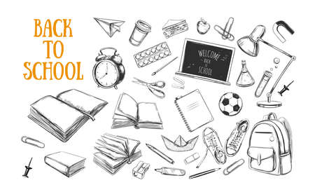 Welcome back to school collection. vector hand drawn elements. School supplies. Books, notebook, copybook, backpack, lamp, alarm clock, football, snickers, chalkboard, pencil, marker, erase Illustration