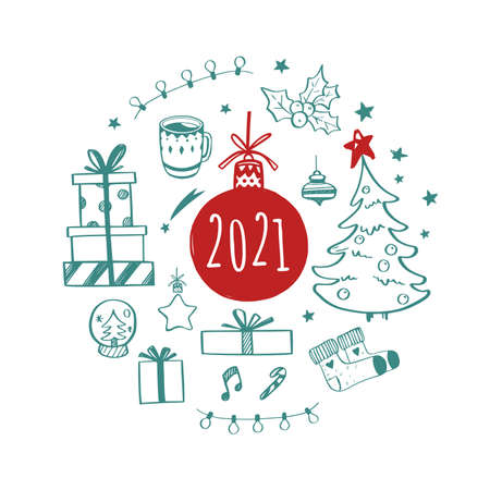 Set of Christmas design doodle elements with Merry Christmas Illustration