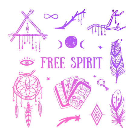 Free spirit boho vector collection. Dreamcatchers, feathers, tarot cards and other mystical symbol Illustration