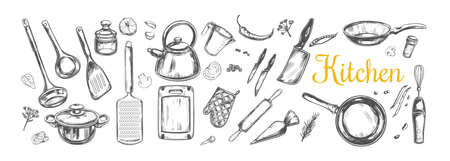 Cooking classes and Kitchen utensil set. Vector hand drawn isolated objects. Icons in sketch Illustration