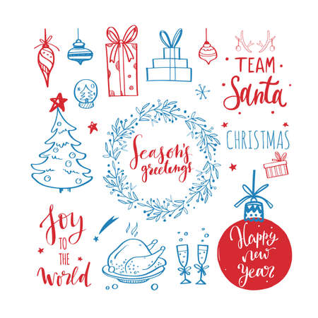 Big set of Christmas design doodle elements. Vector hand drawn . Isolated object