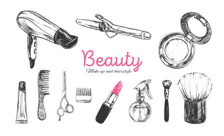 Beauty store background with make up artist and hairdressing objects lipstick, cream, brush. Template Vector Illustration
