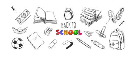 Welcome back to school collection. vector hand drawn elements. School supplies. Books, notebook, copybook, backpack, lamp, alarm clock, football, snickers, chalkboard, pencil, marker, eraser