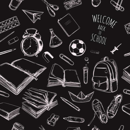 Back to school vector hand drawn seamless pattern, background