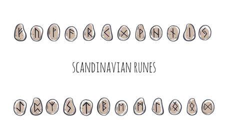 Magic Scandinavian Runes. Old Futhark. vector hand drawn