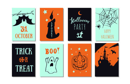 Set of vector Halloween party banners, invitations cards with hand drawn illustrations.