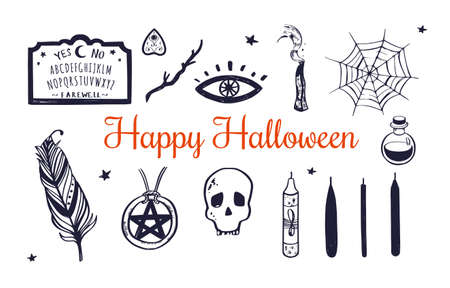 Happy Halloween Vector hand drawn set. Witchcraft elements skull, candles, poition