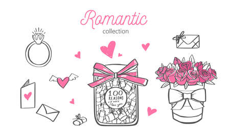 Romatic vector hand drawn illustration. Wedding, Valentines day concept. Isolated