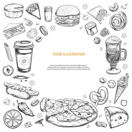 Vector background of food ingredients. Hand drawn sketches. Isolated
