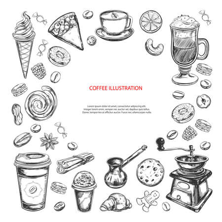 Coffee and Coffee to go background. Vector hand drawn illustrations. Bakery elements. Sketch style