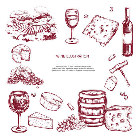Wine set. Vector hand drawn elements including wine glass, bottle, grape, vineyard landscape, cheese, barrel with wine. Sketch