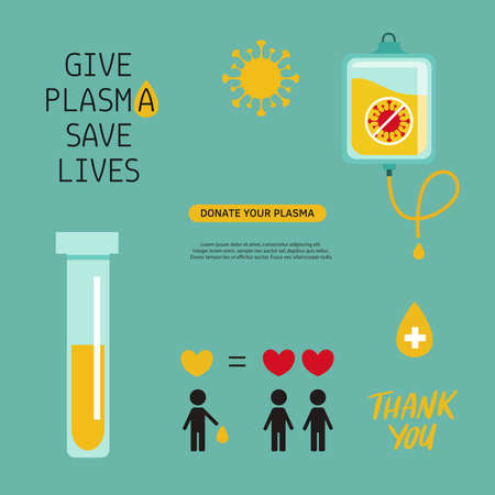 Covid-19, 2019-nCoV virus. Vector Plasma Donation volunteer infographic, symbols, icons. Disease epidemic of pneumonia . Medical laboratory poster, Illustration