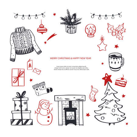 Hello Winter and Merry Christmas vector hand drawn set. New year holiday congratulation. Cozy vintage styled collection. Fireplace, christmas tree, decorations and other festive
