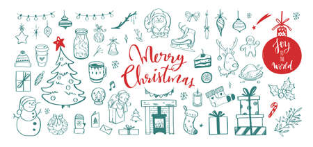 Big set of Christmas design doodle elements. Vector hand drawn lettering, calligraphy . Isolated christmas stickers