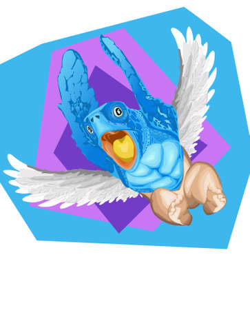flying turtle creature with baby legs Vector