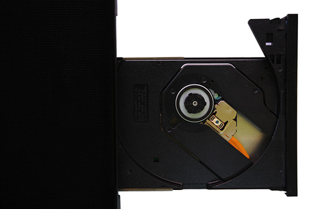 isolated laptop with loaded DVD drive