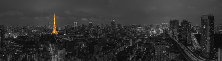 Tokyo Night Panorama B & W Stockfoto