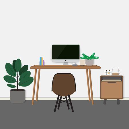 work desk modern style flat scene design interior Ilustração