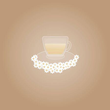 chamomile around crystal tea cup