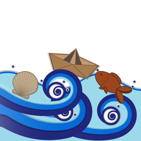 icon about sea float from wave background