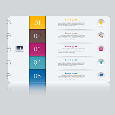 five options infographic with report cover style and icons Vetores