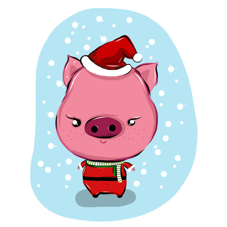 Vector illustration of santa pig cartoon on background Vector