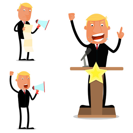 orating: Businessman in speech Illustration