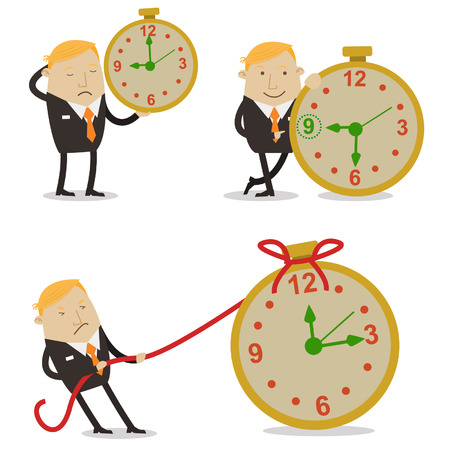 worked: Businessman in time work Illustration