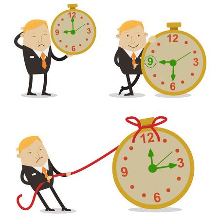 tiredness: Businessman in time work Illustration