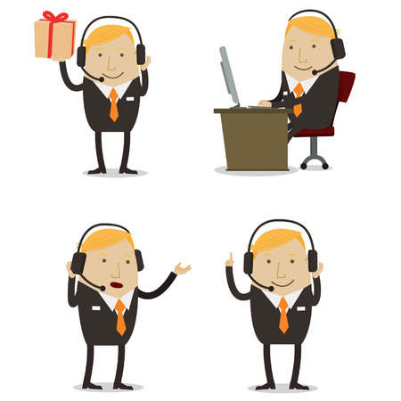 customer service phone: Male Customer service Illustration