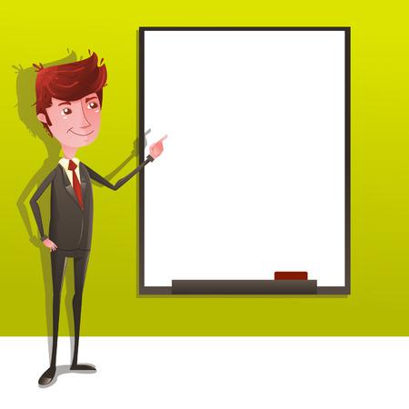 whiteboard: Zakenman op presentatie met whiteboard Stock Illustratie