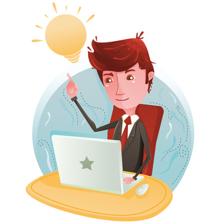 Businessman think on computer Vector