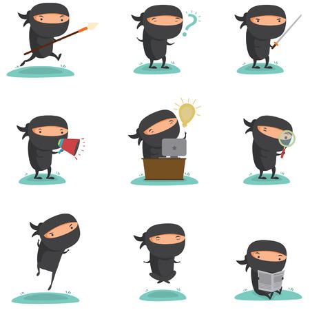 Ninja Mascot Set 1 Vector