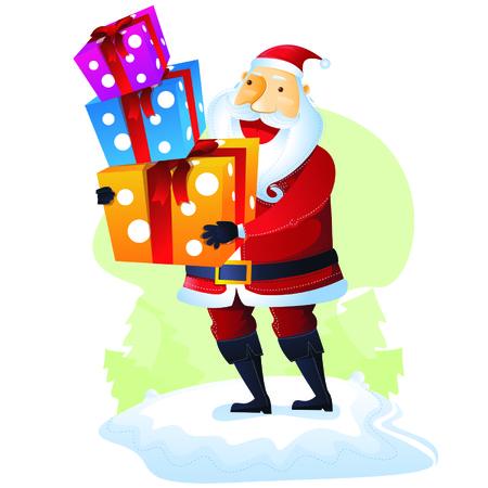 merry chrismas: Santa with Gift set 3 Illustration