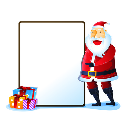 merry chrismas: Santa with sign and gift boxes Illustration