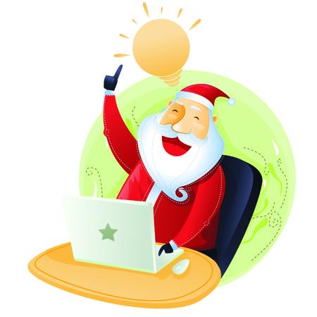 merry chrismas: Santa have an idea with computer